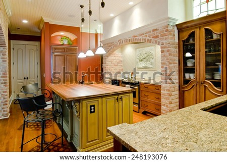 expensive kitchen in Tuscan style - stock photo