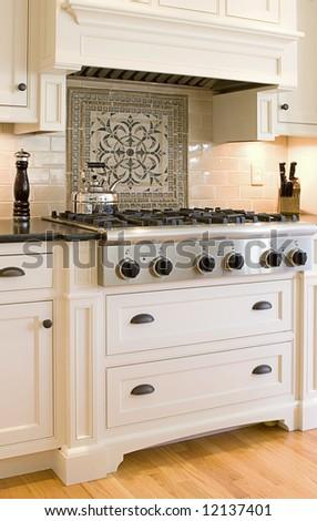 expensive luxury kitchen - stock photo