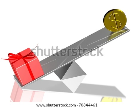 Expensive present. Red present box and usd on balance. 3d render. - stock photo