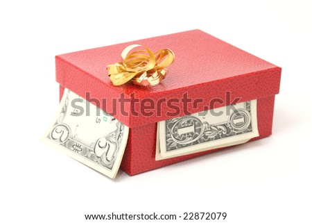 expensive red gift box with gold bow and dollars isolated