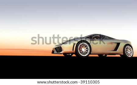 Expensive silver luxury sports car / sportscar at sunset / sunrise with copy space