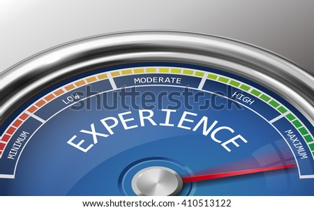experience conceptual 3d illustration meter indicator isolated on grey background