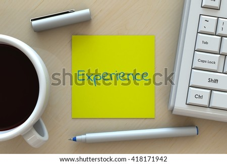 experience, message on note paper, computer and coffee on table, 3D rendering - stock photo