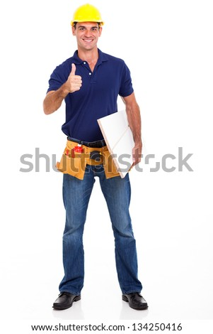 experienced carpenter giving thumb up isolated on white - stock photo