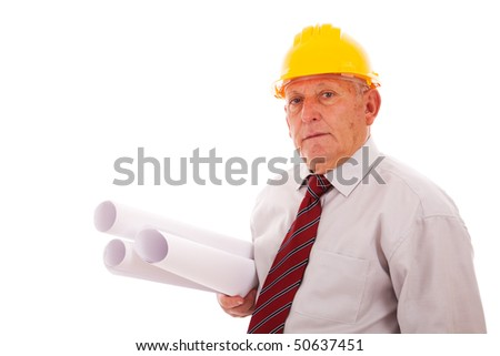 Experienced engineer holding some blueprints (isolated on white) - stock photo