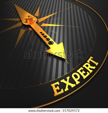 "Expert - Business Background. Golden Compass Needle on a Black Field Pointing to the Word ""Expert"". 3D Render. - stock photo"
