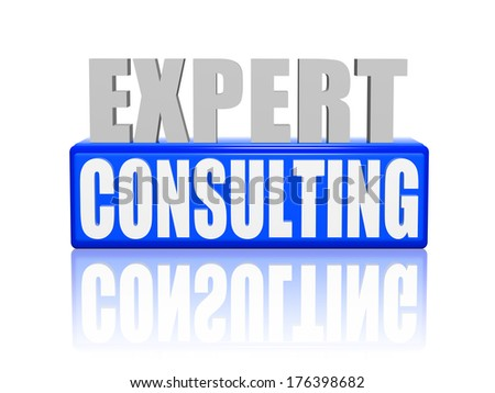 expert consulting - text in 3d blue and white letters and block, business support concept words - stock photo