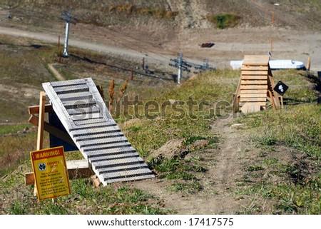 Expert Mountain Bike Ramps - stock photo