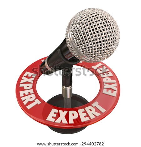 Expert word around microphone to illustrate sharing knowledge or wisdom and experience in public speaking or interview