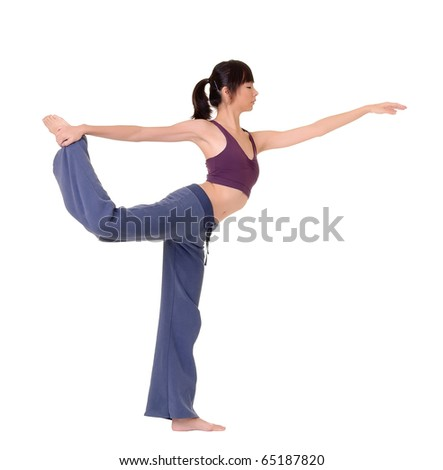 Expert yoga pose by young Asian woman, isolated over white. - stock photo