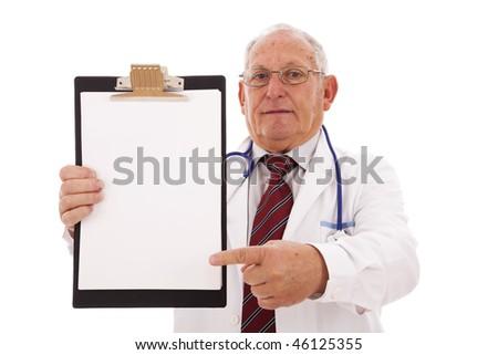 expertise doctor older man isolated on white - stock photo