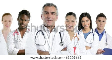 expertise gray hair doctor multiracial nurse team row over white [Photo Illustration] - stock photo