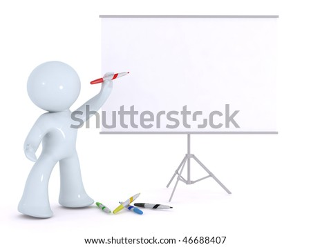 explaining on a white board - stock photo