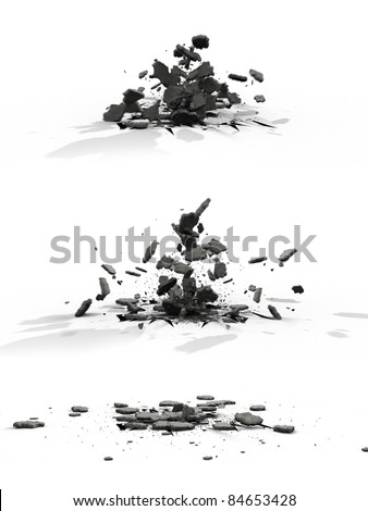 Explode asphalt - stock photo