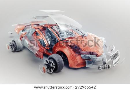 exploded car - stock photo