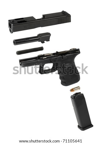 Exploded view of a very popular handgun. - stock photo