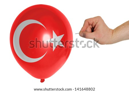 exploding balloon colored in national flag of turkey