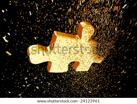 Exploding golden puzzle - stock photo
