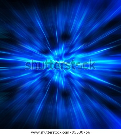 Exploding or expanding blue light. - stock photo