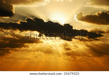 exploding sunset - stock photo
