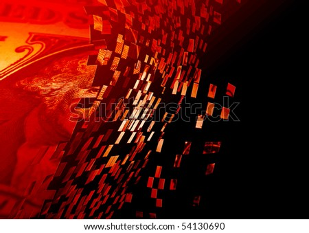Exploding US dollar note overlaid with red color - stock photo