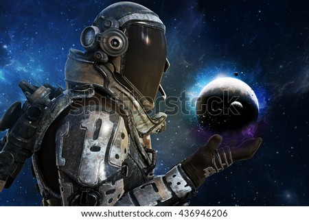 Exploration, A futuristic astronauts of the galaxy concept. 3d rendering