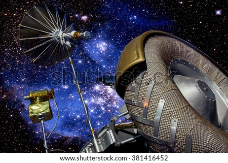 Exploration Rover on the background of stars. Space exploration using robotic rover with satellite antenna. Lunar Lander car for examine planets.