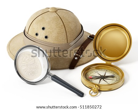 Explorer hat, magnifying glass and vintage compass isolated on white background. 3D illustration.