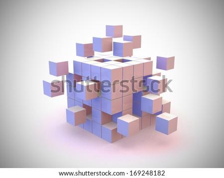 Explosion 3d Cube - 3d render - stock photo