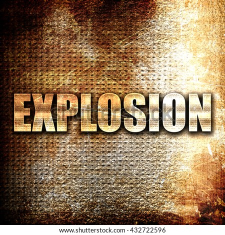 explosion, 3D rendering, metal text on rust background - stock photo