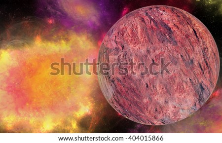 Explosion in space. The died star. Bright explosion. Eclipse. Star patch of light. Space matter. Planet. Mars. Lena. Rocky texture . Force of creation and destruction. Explosion of space energy - stock photo