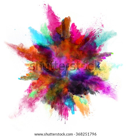 Explosion of colored powder on white background - stock photo