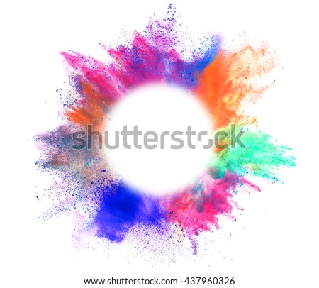 Explosion of colored powder with empty space for text, isolated on white background - stock photo