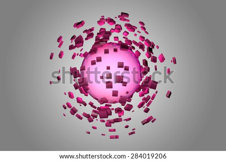 Explosion of glowing sphere into smaller pieces. 3D render image. - stock photo