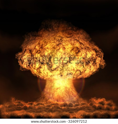 Explosion of nuclear bomb. Nuclear war. A high resolution.   - stock photo