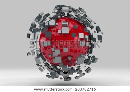 Explosion of sphere into smaller pieces. 3D render image. - stock photo