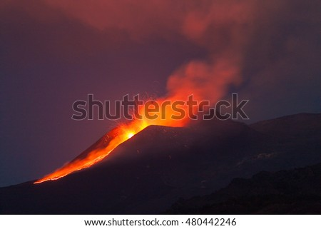 Explosions of the volcano Etna at dawn