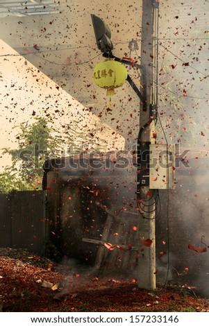 Explosive Fuse Crackling for Chinese Celebration - stock photo