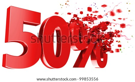 explosive 50 percent off isolated on white background - stock photo