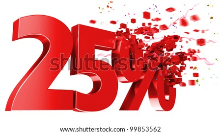 explosive 25 percent off isolated on white background - stock photo
