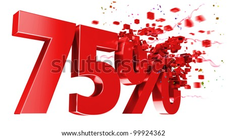 explosive 75 percent off isolated on white background