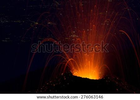 Explosive volcanic activity night.Eruption of Mount Etna summer 2014.  - stock photo