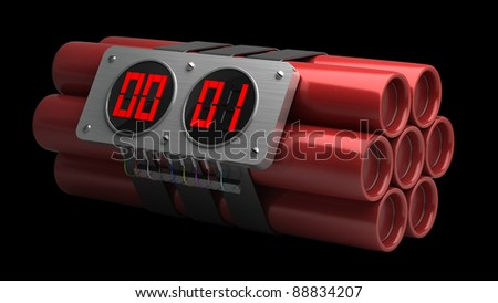 Explosives with alarm clock detonator isolated on black background High resolution 3D image
