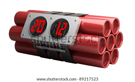 Explosives with alarm clock 2012 detonator isolated on white background High resolution 3D image