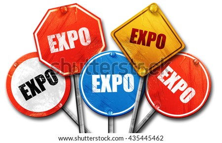 expo, 3D rendering, street signs