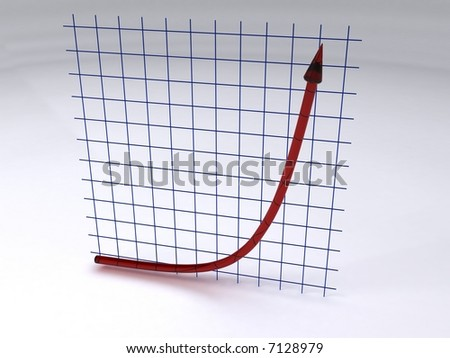 Exponential curve is placed in front of a grid. Both are made of glass. - stock photo
