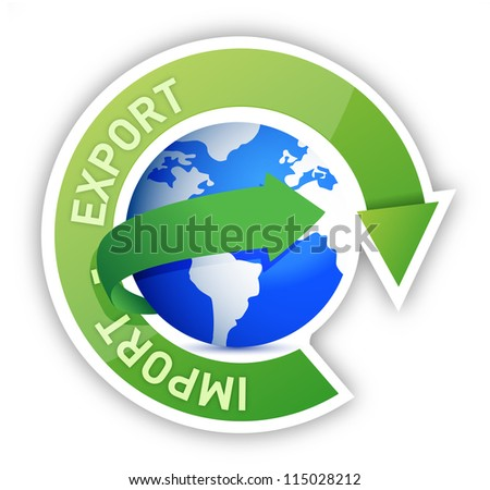 Export and import globe cycle illustration design - stock photo