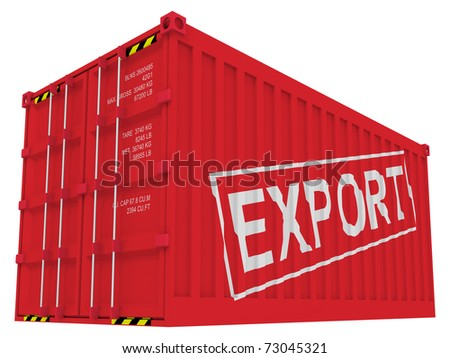 Export cargo container isolated on white