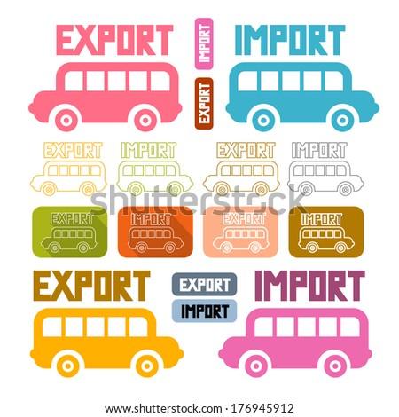 Export Import Icons Isolated on White Background - stock photo
