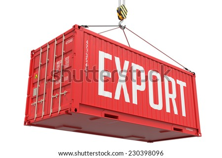 Export - Red Cargo Container hoisted with hook Isolated on White Background. - stock photo